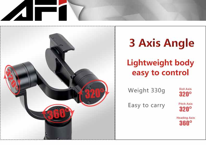AFI V3 Light-weight 3 Axis Gimbal Smartphone Super Smooth